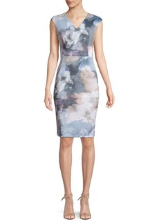 Calvin Klein Floral-Print Knee-Length Sheath Dress