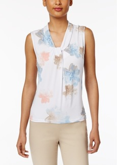 Calvin Klein Floral-Print Knotted Shell