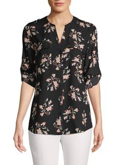 Calvin Klein Floral-Print Long-Sleeve Shirt