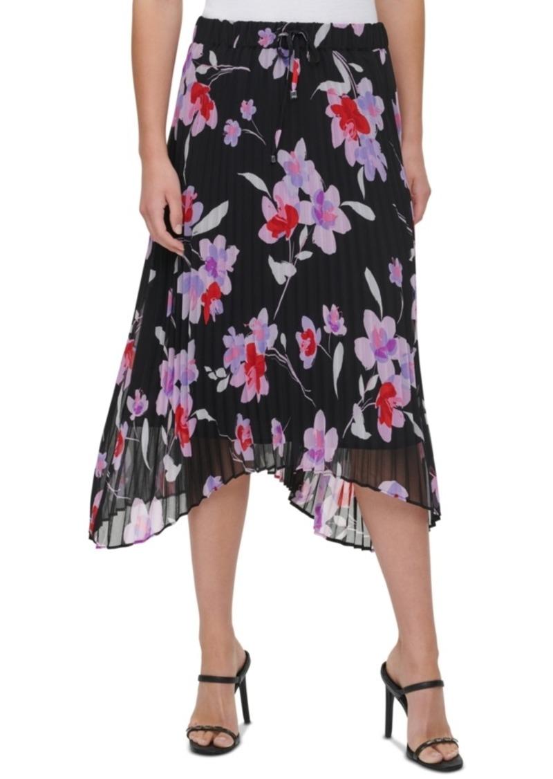 Calvin Klein Pleated Floral-Print Skirt