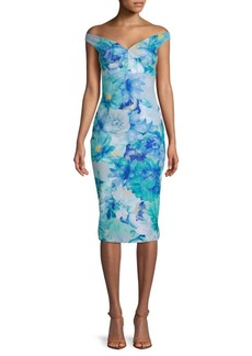 Calvin Klein Floral-Print Off-The-Shoulder Dress