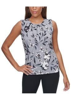 Calvin Klein Floral-Print Pleat-Neck Camisole Top
