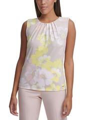 Calvin Klein Floral-Print Pleat-Neck Top