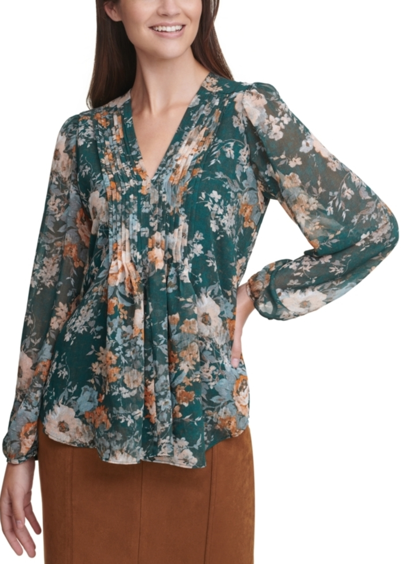 Calvin Klein Floral-Print Pleated V-Neck Blouse