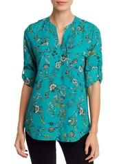 Calvin Klein Floral Print Roll-Sleeve Blouse