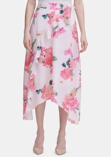 Calvin Klein Floral-Print Ruffle Handkerchief-Hem Skirt