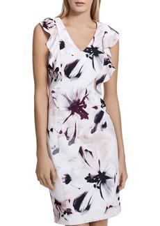 Calvin Klein Floral Print Ruffle Sheath Dress