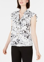 Calvin Klein Floral-Print Ruffled Button-Front Blouse