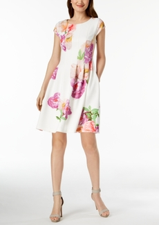 Calvin Klein Floral-Print Scuba Fit & Flare Dress, Regular & Petite