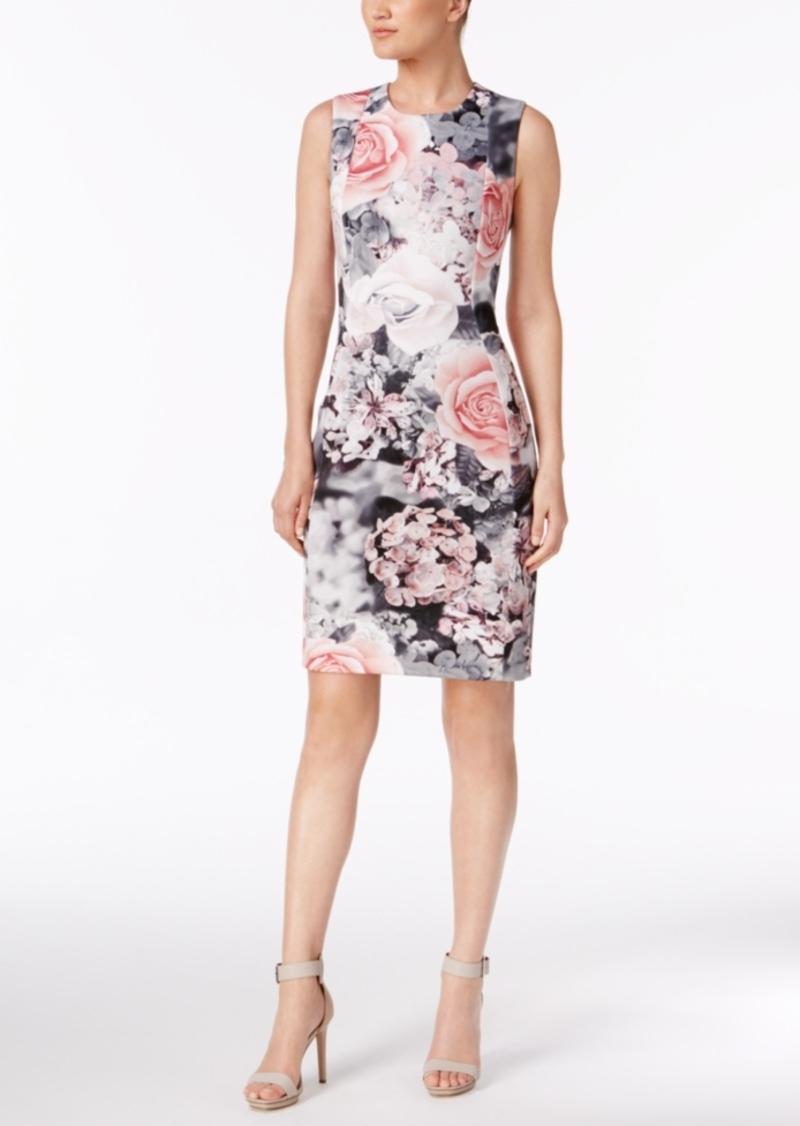 89d3f562c65d SALE! Calvin Klein Calvin Klein Printed Scuba Sheath Dress