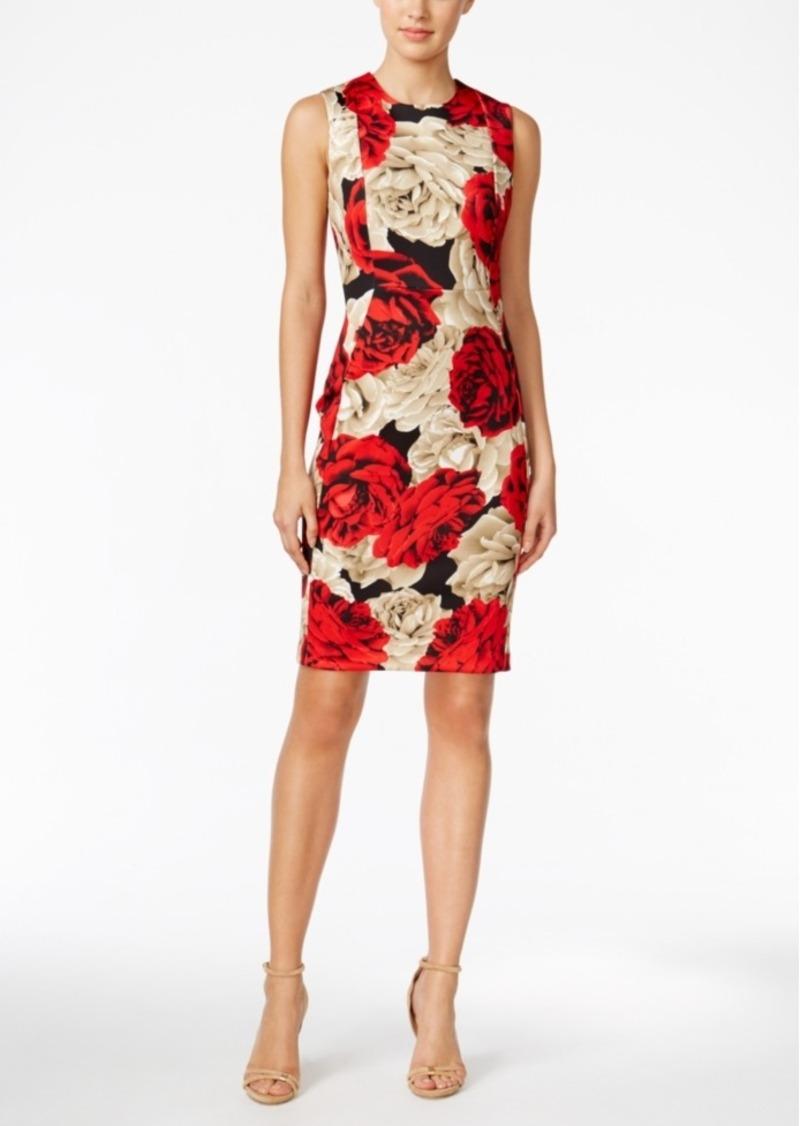 5b08a1f9 Calvin Klein Floral-Print Scuba Sheath Dress, Regular & Petite Sizes, A  Macy's