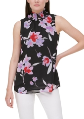 Calvin Klein Floral-Print Smocked-Neck Top