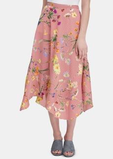 Calvin Klein Floral-Print Striped Midi Skirt