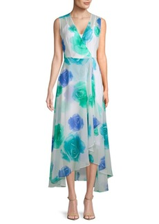 Floral-Print Surplice Hi-Lo Dress