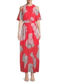 Calvin Klein Cold-Shoulder Floral Tie Maxi Dress