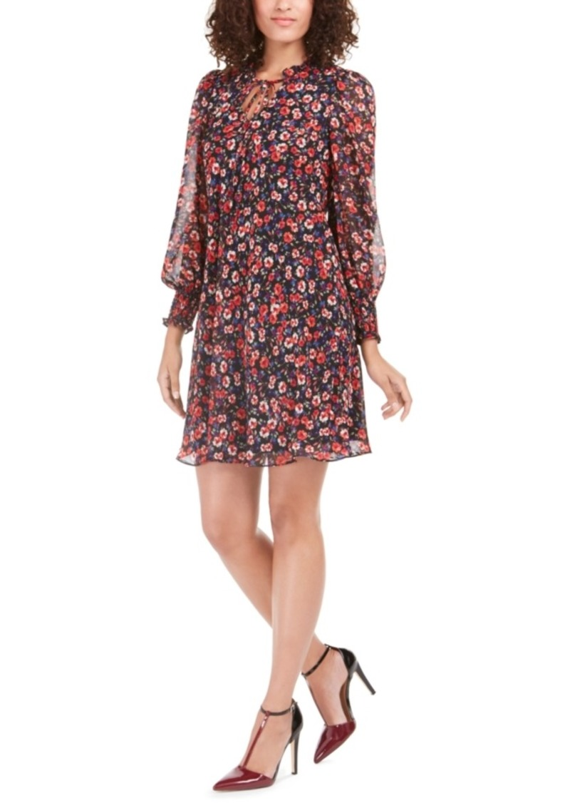 Calvin Klein Floral-Print Tie-Neck Dress
