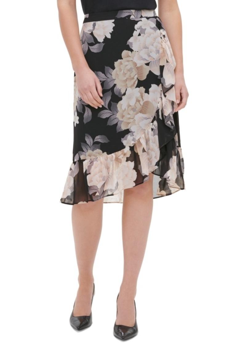 Calvin Klein Floral-Print Tulip-Hem Skirt