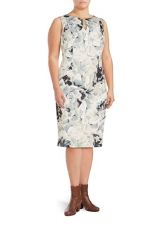 Calvin Klein, Plus Size Floral Printed Sleeveless Sheath Dress
