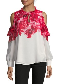 Calvin Klein Floral Ruffle Cold-Shoulder Blouse