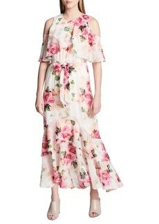 Calvin Klein Floral Ruffle Cold-Shoulder Maxi Dress