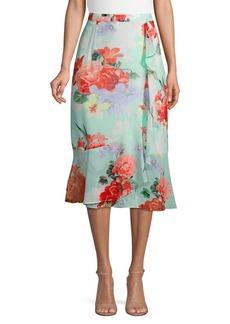 Calvin Klein Floral Ruffle Midi Skirt