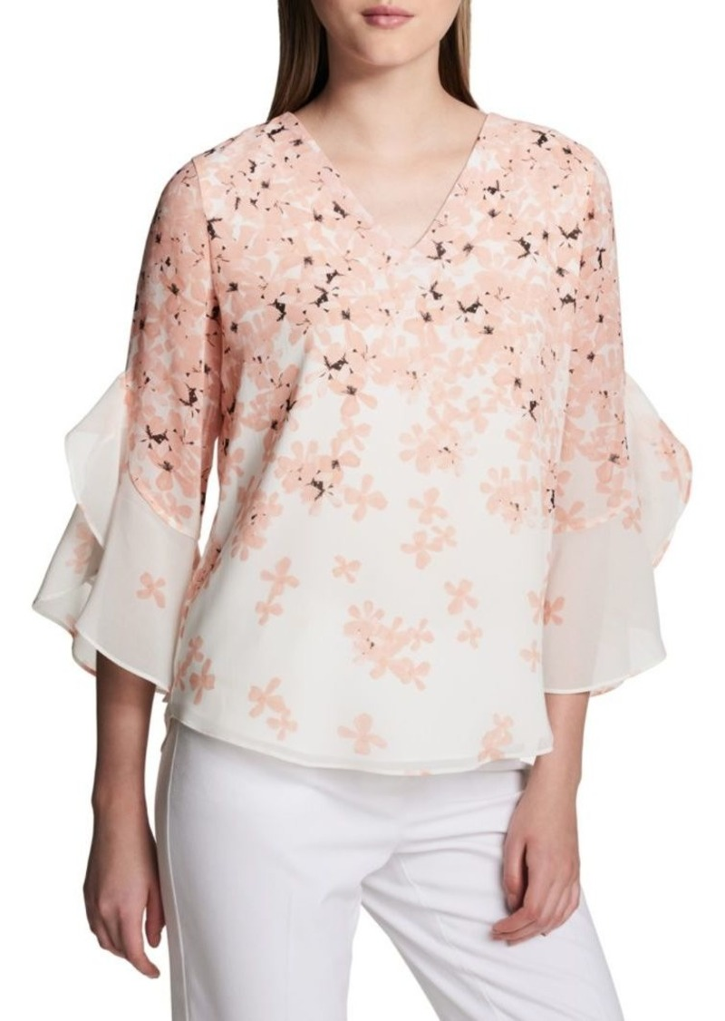 Calvin Klein Floral Ruffle-Sleeve Blouse