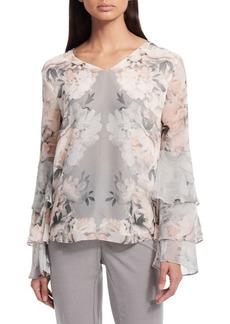 Calvin Klein Floral Ruffle Sleeve Top