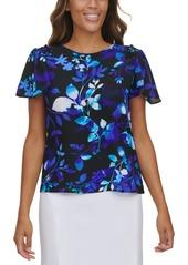 Calvin Klein Floral Ruffled Short Sleeve Blouse