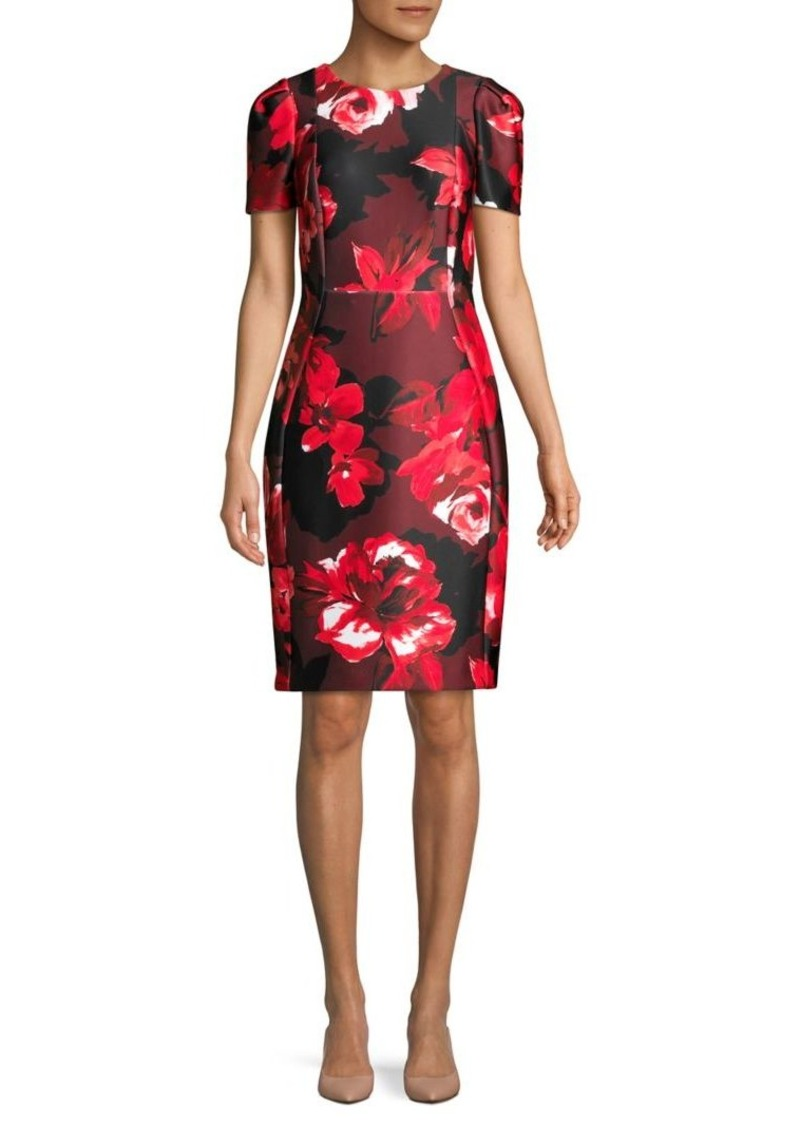 Calvin Klein Floral Short-Sleeve Sheath Dress