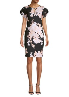 Calvin Klein Floral Slit-Sleeve Sheath Dress