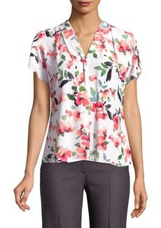 Calvin Klein Floral V-Neck Flutter Blouse