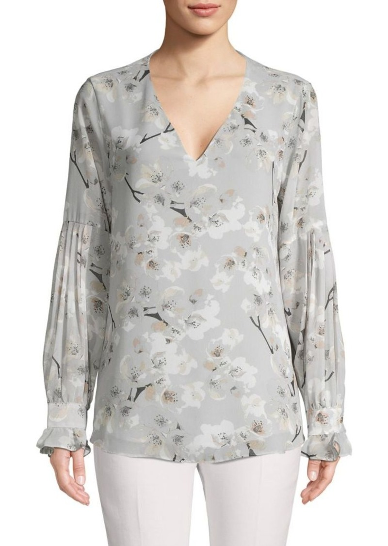 Calvin Klein Floral V-Neck Pleat-Sleeve Top