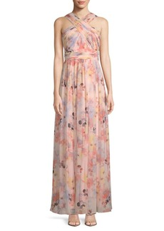 Floral Wrap-Neck Gown