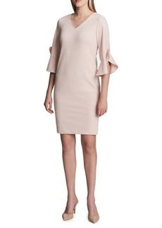 Flounce-Sleeve Scuba Sheath Dress