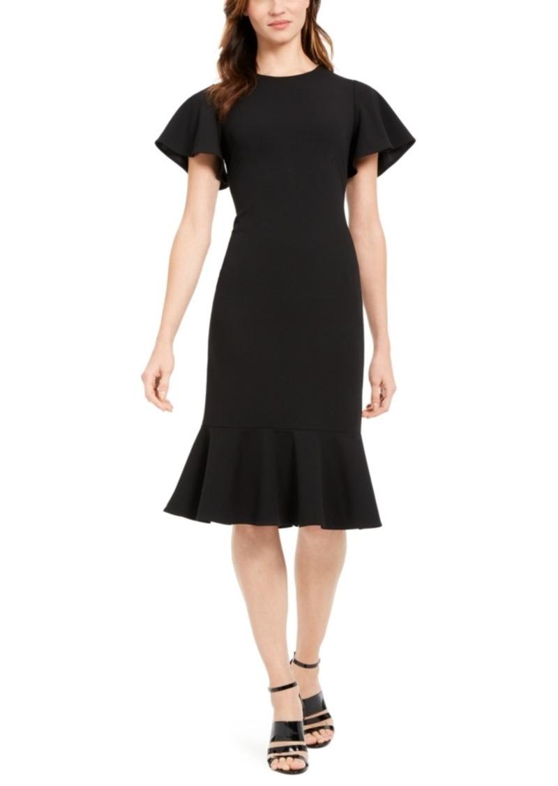 Calvin Klein Flutter-Sleeve Flounce Midi Dress