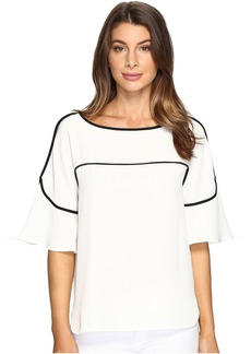 Calvin Klein Flutter Sleeve Top with Piping