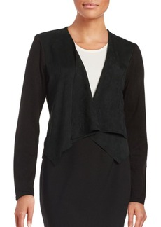 Calvin Klein Flyaway Front Knit and Faux Suede Jacket