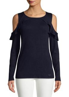 Calvin Klein Frilled Cold-Shoulder Top