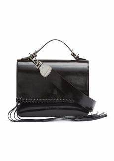 Calvin Klein Fringe Glazed Patent Statement Top Handle Mini Satchel Crossbody