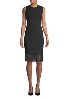 Calvin Klein Fringe Trim Sheath Dress