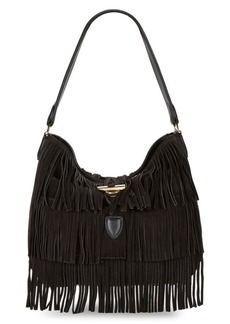 Calvin Klein Fringed Suede Hobo Bag