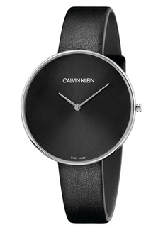 Calvin Klein Full Moon Leather Band Watch, 42mm