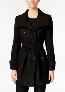 Calvin Klein Funnel-Collar Textured Peacoat, Only at Macy's