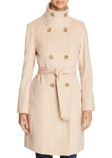 Calvin Klein Funnel Neck Double-Breasted Button Front Coat