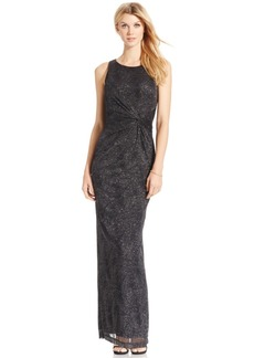 Calvin Klein Gathered Swirl-Pattern Sparkle Gown