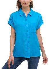 Calvin Klein Gauze Button-Down Cotton Shirt