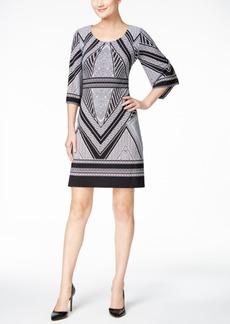Calvin Klein Geo-Print Bell-Sleeve Jersey Dress