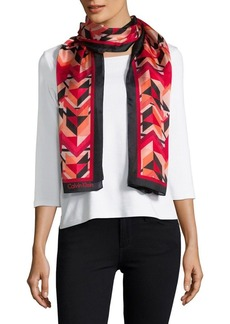 Calvin Klein Geo-Print Silk Scarf