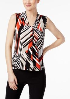 Calvin Klein Geo-Print Twist-Neck Shell