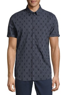 Calvin Klein Short-Sleeve Square Jacquard Shirt